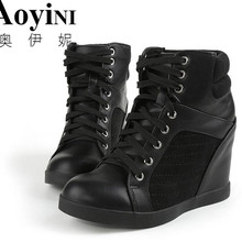 High top Women Casual Shoes Hidden Heels Height Increase 10cm