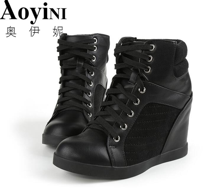 High top Women Casual Shoes Hidden Heels Height Increase 10cm Womens Hidden Heels Wedge Sneakers Lace up Vulcanized Shoes LadiesHigh top Women Casual Shoes Hidden Heels Height Increase 10cm Womens Hidden Heels Wedge Sneakers Lace up Vulcanized Shoes Ladies
