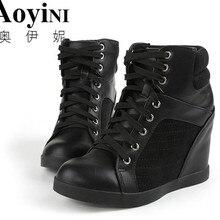 High top Women Casual Shoes Hidden Heels Height Increase 10c