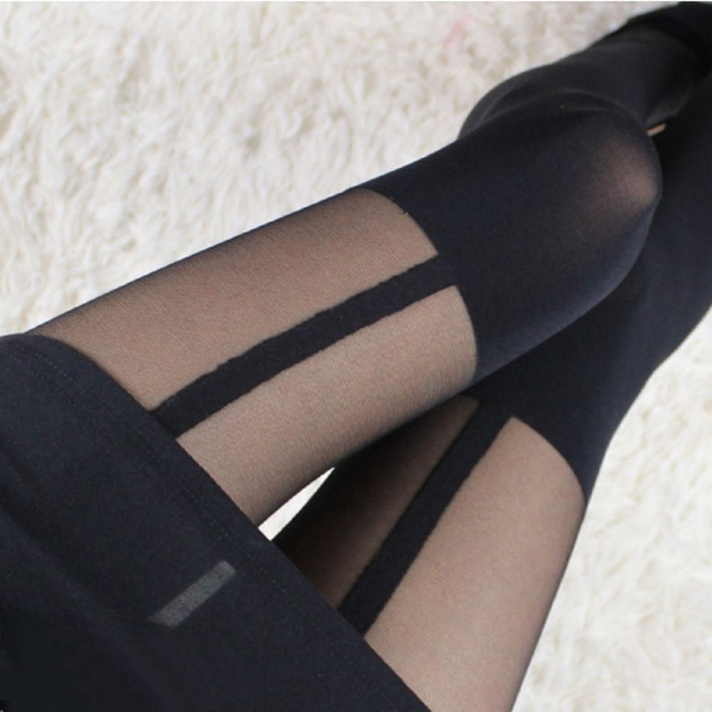 16bbf78aa 1PCS Hot Fashion Sexy Lady Women Black Thights Thigh Highs Stockings Garter  Belt Fake Suspender Pantyhose-in Tights from Underwear   Sleepwears on ...