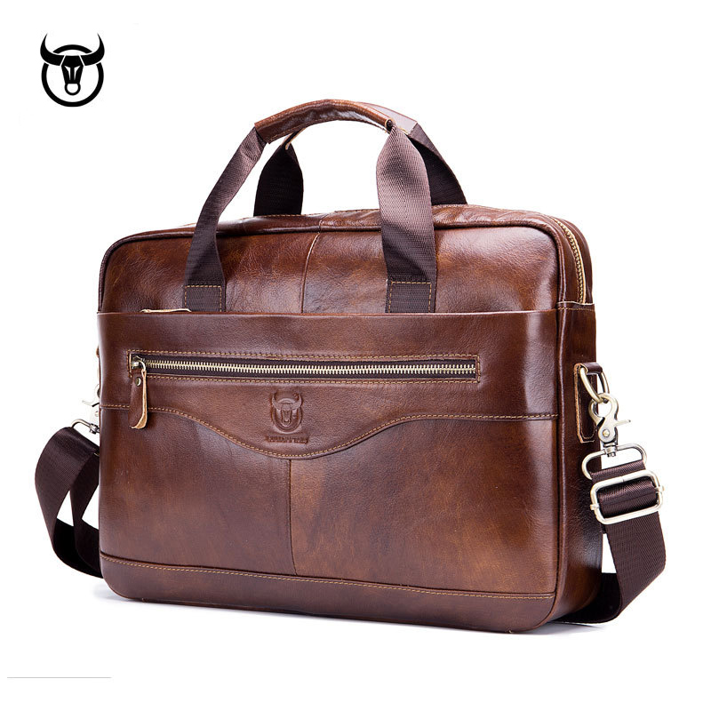 Men's Briefcase Handbags Computer-Bag Business Vintage Genuine-Leather Fashion Postman