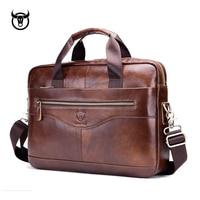 Genuine leather men's Briefcase vintage business computer bag fashion messenger bags man shoulder bag postman male Handbags