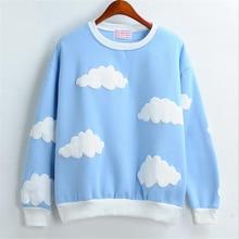 Merry довольно осень-зима теплый с длинным рукавом Женские Топы Harajuku облака хеджирования с круглым вырезом толстые пуловеры плюс бархат кофты