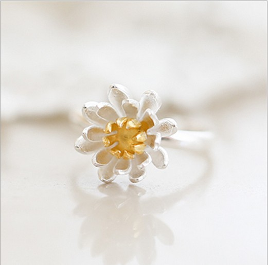 Shunyun 925 Sterling Silver Lotus Flowers Open Finger Rings For Women Vintage Style Lady High-quality Statement Jewelry