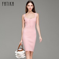 FATIKA 2017 Spring Autumn New Womens Knitted Dress Mini Bodycon Dress Women Brandy Spaghetti Strap Sweater