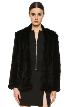 Hot 100% Rabbit Fur Knitted Outerwear   Natural Rabbit Fur Coat   Fur Jacket  BE1413 Free Shipping 2