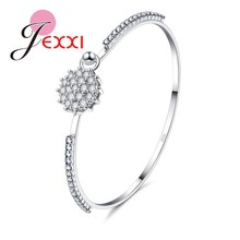 JEXXI Luxury Shiny CZ   Bridal Wedding Bracelet Fashion Jewelry Girls Beautiful Bangles Accessories For Party Wholesale