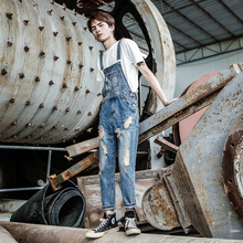 2019 New Spring Summer Denim Overalls Mens Hole Washed feet Nine jeans Men and Women Retro Staff Clothes pants Size S-4XL 5XL