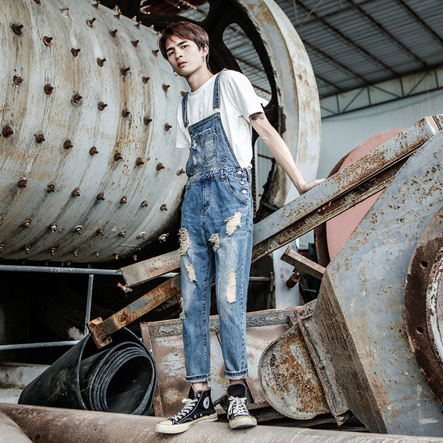 2019 New Spring Summer Denim Overalls Men's Hole Washed feet Nine jeans Men and Women Retro Staff Clothes pants Size S-4XL 5XL