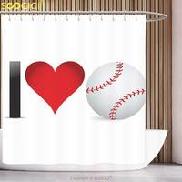 Polyester Shower Curtain Sports Decor I Love Baseball Heart With Baseball Ball Passion Valentine Leisure Joy Bathroom Decor Set