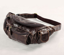 Vintage waist packs real genuine leather fanny pack men waist bags Fashion man small travel waist wallet bags #MD-J7144