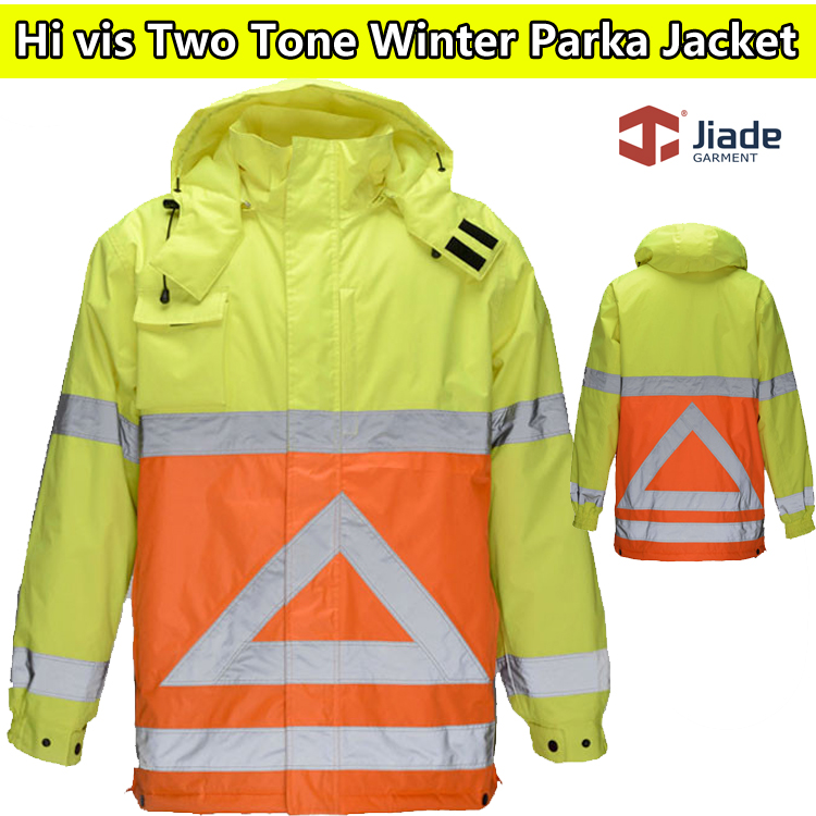 Jiade High visibility Mens Two tone winter safety parka jacket reflective work clothing safety clothing workwearJiade High visibility Mens Two tone winter safety parka jacket reflective work clothing safety clothing workwear