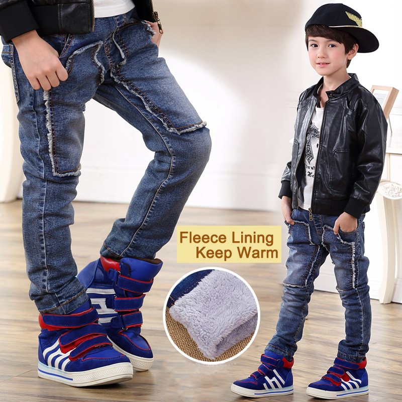 Children's Kids Thicken Fleece Jeans for Boys Elastic Waist Straight Jeans Warm Denim Pants High Quality Fashion Trousers