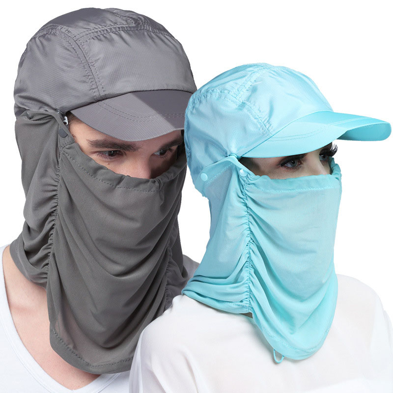 Quick Drying Sun Helmet  Mask Bonnie Hats Folding Cap Sunbonnet UV Protection Summer Camouflage Hat To Prevent Mosquito