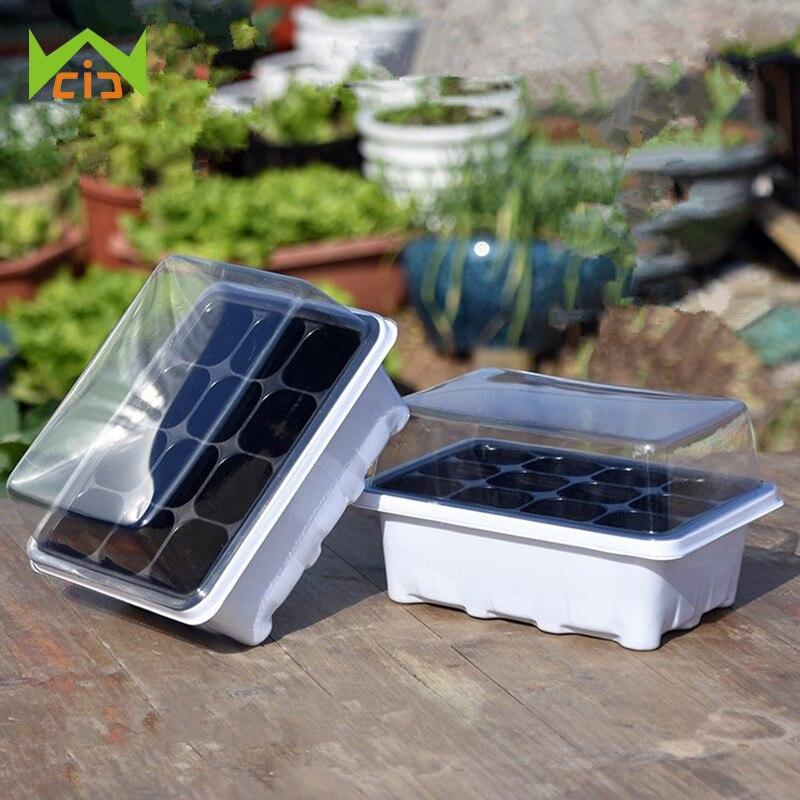 WCIC 1 Set 12 Cell Flower Pot Plant Seed Cloning Case Insert Clone Grow Box Black Propagation Tray Plug Plant Kit Nursery Pots