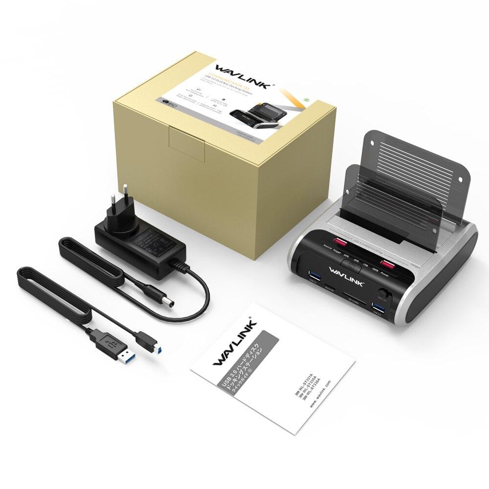 Wavlink 2.5 3.5 pouce USB 3.0 à SATA Double-Bay Disque Dur Station D'accueil w/Hors Ligne Clone & UASP Lecteur de Carte pour 2.5