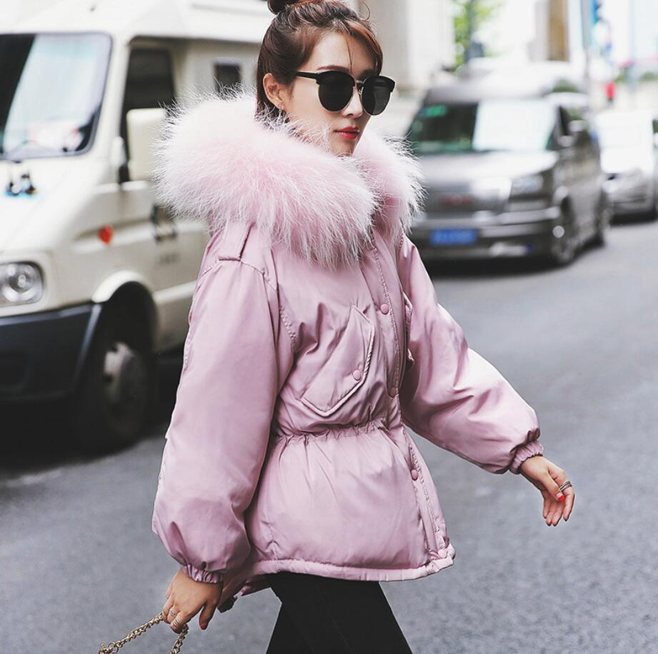 2018 winter Korean fashion Fur Collar hooded   Down     Coat   Women white duck   down   warm Slim Parkas Female Jacket   Coat   a982