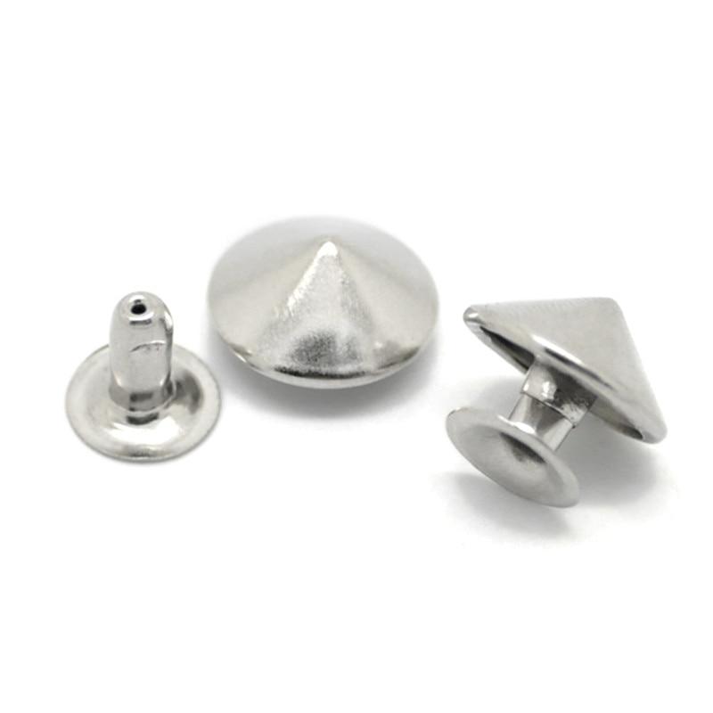 "30Pcs/lot Punk Cone Studs Spots Spike Rivets Silver Tone DIY Shoes Handbags Accessories 12mm(4/8"") 8mm(3/8"")"