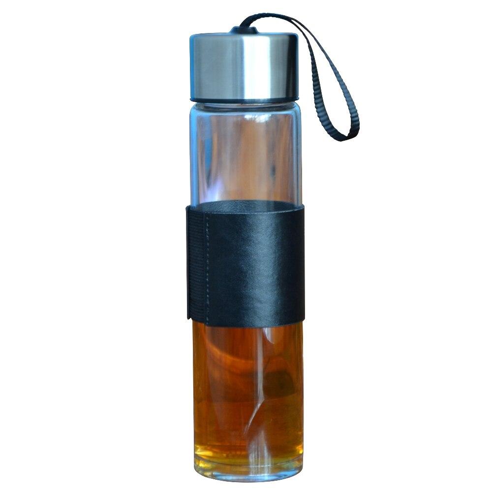 450ml Glass Water Bottle Stainless Steel Lid Drinking Mug