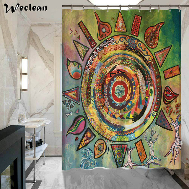 Weclean 1 Piece Abstract Painting Shower Curtains Sun Moon Printed Bath Curtain Water Resistant Polyester For Bathroom