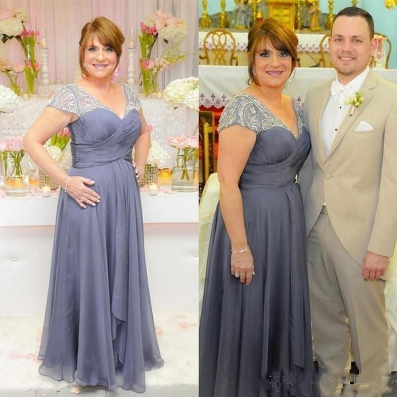 2019 бусин плюс Размеры мать невесты платья с v образным вырезом Рубашка с короткими рукавами Ruched шифон длинный Выпускной вечерние платье тор