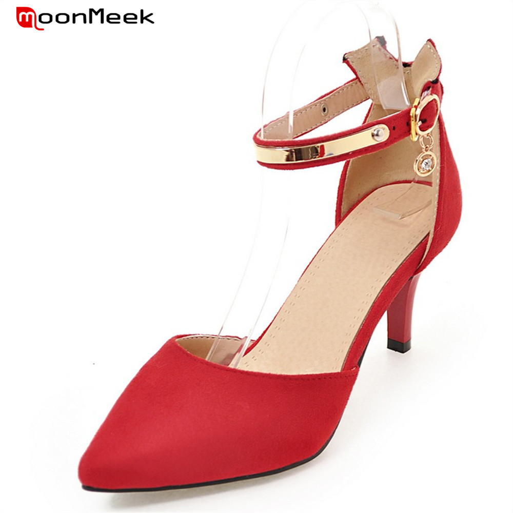 MoonMeek spring summer new arrive high heels pointed toe with buckle sexy flock thin heel women pumps wedding party shoes wholesale lttl new spring summer high heels shoes stiletto heel flock pointed toe sandals fashion ankle straps women party shoes