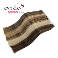 MRSHAIR Silver Hair Tape In Extensions 20pcs Human Adhesive Brazilian Straight Skin Weft 16 - 24