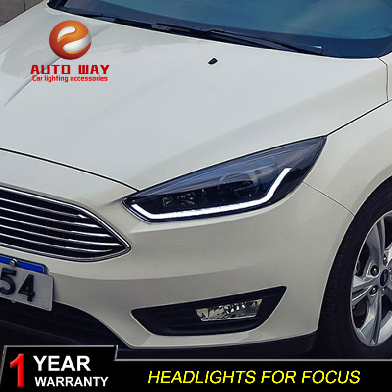 Car Styling Case for Ford Focus 3 2015 2017 Headlights LED Focus Headlight DRL Lens Double
