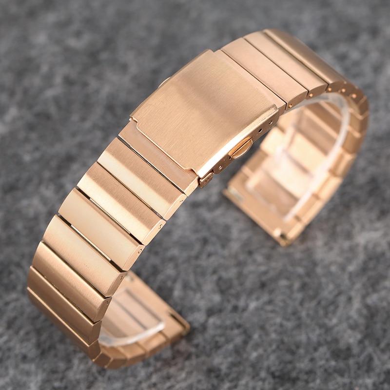 18mm 20mm 22mm 24mm Elegant Rose Gold Stainless Steel Dress Watch Band Metal Bracelet Strap Replacement Bangle +2 Spring Bars
