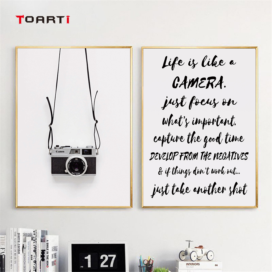 Image 4 - Black Camera Prints Posters Modern Life Quotes Canvas Painting Nordic Letters Wall Art Pictures For Living Room Home Decoration-in Painting & Calligraphy from Home & Garden