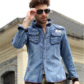 Рубашки высокое качество мужская с длинным рукавом ретро джинсовые рубашки весна осень мода мужчины уменьшают подходящую свободного покроя тонкий бренд жан A787