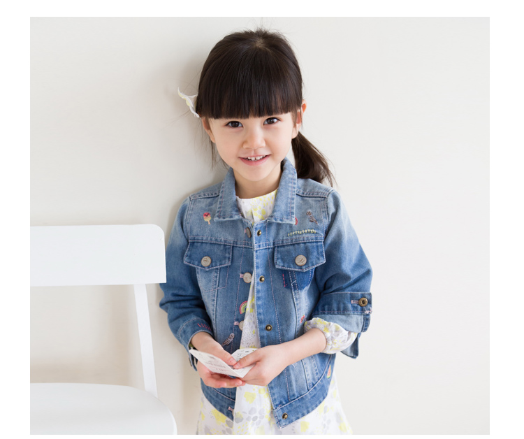 New Arrival Baby Girls Fashion Denim Jacket Girls Character embroidery Denim Outerwear Jacket Child High Quality