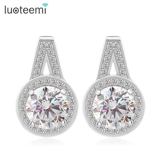 LUOTEEMI New 925 Sterling Silver Jewelry Earrings Luxury Fine Jewelry Hearts & Arrows Zircon Stud Silver Earrings for Women