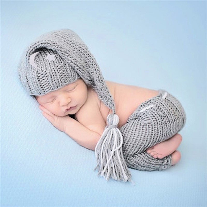 Mother & Kids Handmade Knitting Newborn Photography Props Wool Handmade Knitting Hat Short Trousers 2pcs Children Sets Infant Costumes Outfits