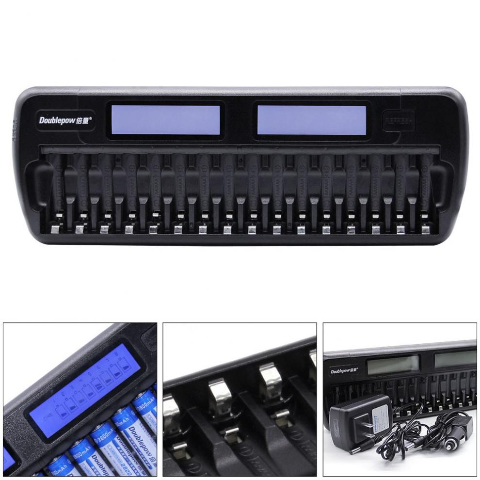цена на 16 slots Doublepow DP-K106 2-LCD Built-In IC Protection Intelligent Rapid Battery Charger for 16 pcs 1.2V AA/AAA Ni-MH/Ni-CD