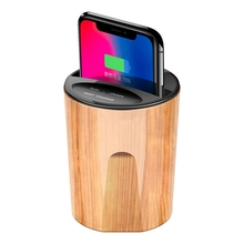 Wooden Cylinder Fast Car Charger Wireless Charging with USB