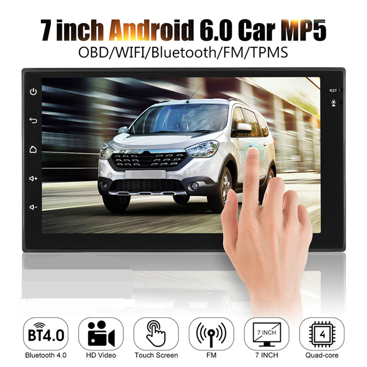 KROAK 7 inch Touch Screen Android 6.0 1G+16G System Car MP5 Player OBD Bluetooth 4.0 FM MP5 With 170 Degree Car Rearview Camera hot 7020g car bluetooth audio stereo mp5 player with rearview camera 7 inch touch screen gps navigation fm function with camera