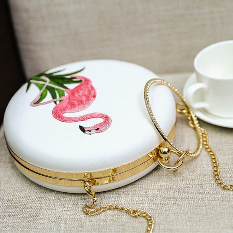 Flamingo dames sacs à main blanc sac rond femmes 2019 pochette chaîne sac diamant poignée cercle petits mini sacs à main sacs de soirée - 2