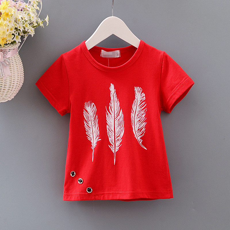 New Summer Clothes Children Boys Girls T Shirts Kids Baby Boy Clothing Short Sleeve T-Shirt Feather Tops Cotton Tees Hot Sale high quality branded boys t shirts children clothing baby t shirt kids clothes long sleeve striped cotton baby boy t shirt