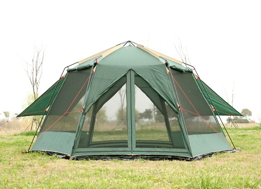UV camping En Plein Air hexagonale grande tente sauvage camping tente de camping 8-12 à double imperméable moustique tente auvent jardin pergola
