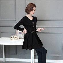 Autumn New Women Long Sleeve Dresses Beading Patchwork Black Dress Female Plus Size 5XL Vestido de Festa Red Mini Clothes BH319E