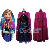 Hot Movie Elsa Princess Anna Dress Costume With Cloak Halloween Pary For Adult Women Girls Party Cosplay Costume Full set