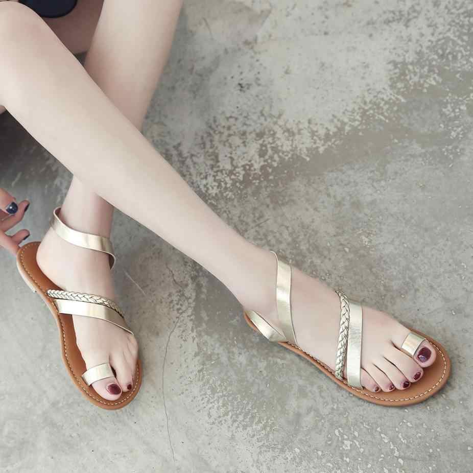 2d2df56472024 ... Women Summer Strappy Gladiator Low Flat Heel Flip Flops Beach Sandals  Shoes woman sandals 2018 summer ...