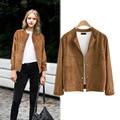2016 Autumn and Winter New Large Size Women's Jacket Fashion Slim Long Sleeve Suede Short Jacket AXD1939
