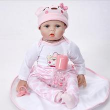 Lifelike Princess Girl Reborn Doll 22 Inch Realistic Silicone Real Touch Newborn Babies Toy With Clothes Kids Birthday Xmas Gift silicone reborn baby doll 22 inch real lifelike newborn dolls girl children birthday xmas gift