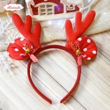 Raindo 2017 HOT Christmas Kids Headbands Girls Fabrics Antlers Bow Jingle Ball Hair Hoops Hair Bands Xmas New Year Gift Headwear