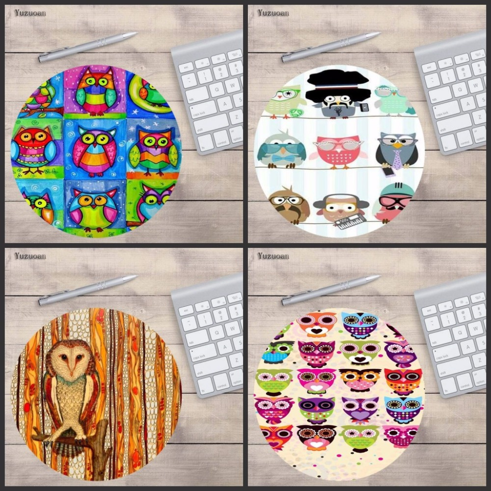 Yuzuoan Top Quality Colorful owl Laptop Computer Gaming keyboard Mousepad Size for 200x200x2mm Round Tablets Mousemats ...