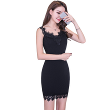 See Through sexy Hollow Out Floral Lace Dress Women sleeveless street wear Pencil Bodycon round neck Casual Party Dress  61A