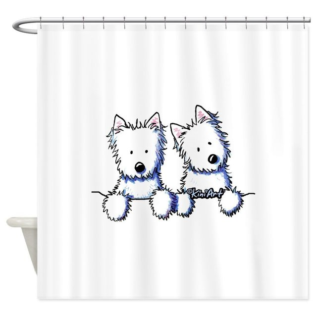 Our House Pocket Westie Duo Decorative Fabric Shower Curtain Set And Floor Mat Non Slip