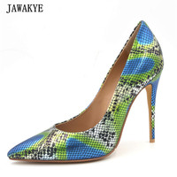 JAWAKYE High Quality Pumps Blue Mix Green Color Pointed Toe High Heels Snake Printing 10cm 8